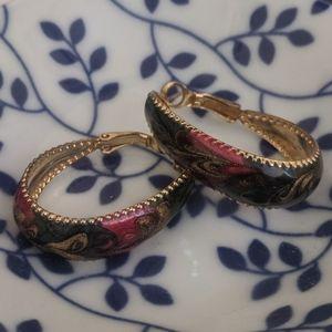 Vintage 90's-style enamel hoop earrings